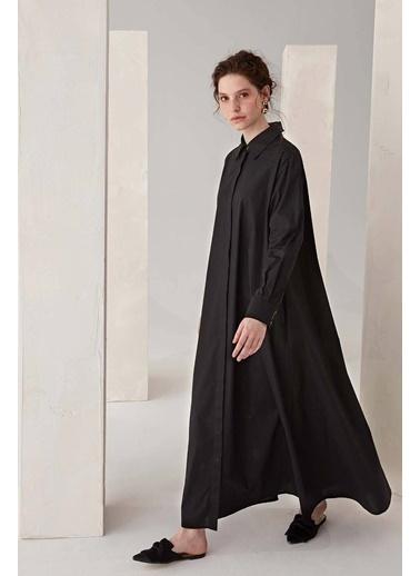 Vivencia Cep Detaylı Poplin Kadın Elbise Beyaz Siyah